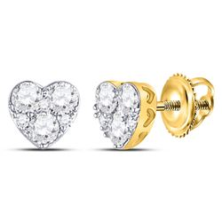 10kt Yellow Gold Round Diamond Heart Cluster Stud Earrings 1/2 Cttw