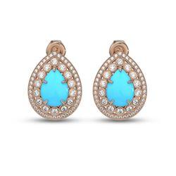 7.54 ctw Turquoise & Diamond Victorian Earrings 14K Rose Gold