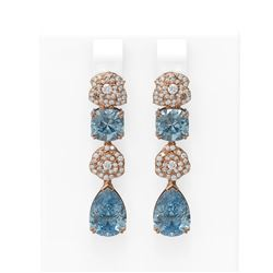 9.7 ctw Blue Topaz & Diamond Earrings 18K Rose Gold