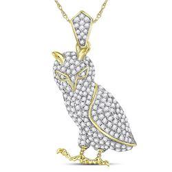 10kt Yellow Gold Mens Round Diamond Owl Bird Animal Charm Pendant 1.00 Cttw