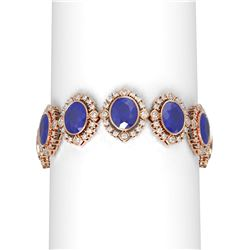 50.03 ctw Sapphire & Diamond Bracelet 18K Rose Gold