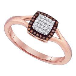 10kt Rose Gold Round Red Color Enhanced Diamond Square Cluster Split-shank Ring 1/8 Cttw
