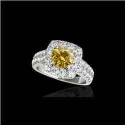2.5 ctw Certified SI/I Fancy Intense Yellow Diamond Ring 10K White Gold