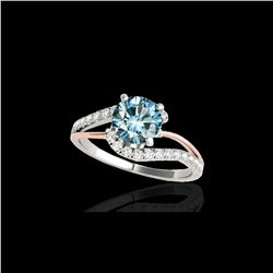 1.35 ctw SI Certified Fancy Blue Diamond Bypass Ring 10K White & Rose Gold