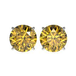 4 ctw Certified Intense Diamond Stud Earrings 10K White Gold