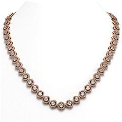 21.69 ctw Cushion Cut Diamond Micro Pave Necklace 18K Rose Gold