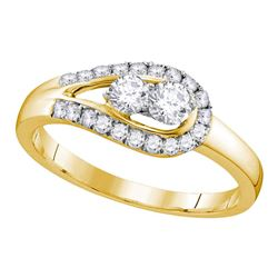 10kt Yellow Gold Round Diamond 2-stone Bridal Wedding Engagement Ring 1/2 Cttw
