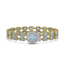 17.67 ctw Sky Topaz & Diamond Bracelet 14K Yellow Gold