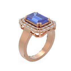 5.35 ctw Tanzanite & Diamond Ring 18K Rose Gold