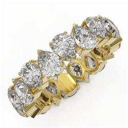 6.3 ctw Pear Cut Diamond Eternity Ring 18K Yellow Gold