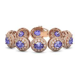 50.27 ctw Tanzanite & Diamond Victorian Bracelet 14K Rose Gold