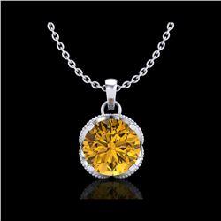 1.13 ctw Intense Fancy Yellow Diamond Art Deco Necklace 18K White Gold