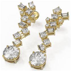 4 ctw Diamond Designer Earrings 18K Yellow Gold