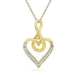 10kt Yellow Gold Round Diamond Infinity Heart Pendant 1/12 Cttw
