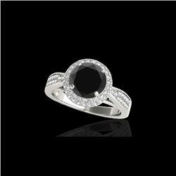 2.15 ctw Certified VS Black Diamond Solitaire Halo Ring 10K White Gold
