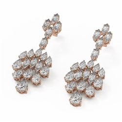 14.56 ctw Mix Cut Diamond Designer Earrings 18K Rose Gold