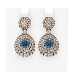7.73 ctw Intense Blue Diamond Earrings 18K Rose Gold