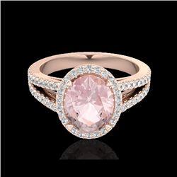 3 ctw Morganite & Micro VS/SI Diamond Halo Ring 14K Rose Gold