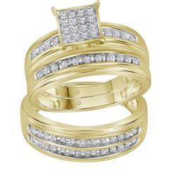 10kt Yellow Gold His & Hers Round Diamond Square Cluster Matching Bridal Wedding Ring Band Set 1/2 C