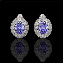 9.06 ctw Tanzanite & Diamond Victorian Earrings 14K White Gold