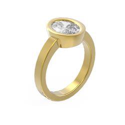 2 ctw Oval Diamond Ring 18K Yellow Gold