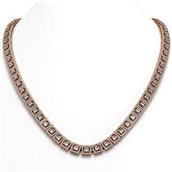 28.67 ctw Princess Cut Diamond Micro Pave Necklace 18K Rose Gold