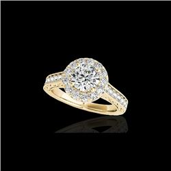 1.7 ctw Certified Diamond Solitaire Halo Ring 10K Yellow Gold