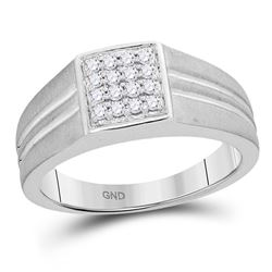 10kt White Gold Mens Round Diamond Matte-finish Square Cluster Ring 1/4 Cttw