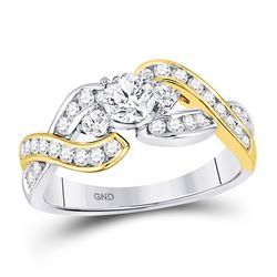 14kt Two-tone Gold Round Diamond 3-stone Twist Bridal Wedding Engagement Ring 1.00 Cttw