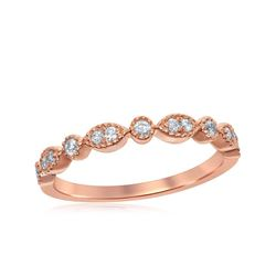 14kt Rose Gold Round Diamond Milgrain Stackable Band Ring 1/6 Cttw