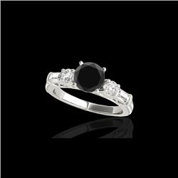 2.5 ctw Certified VS Black Diamond Pave Solitaire Ring 10K White Gold