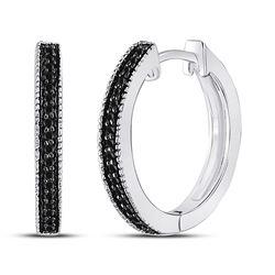 10kt White Gold Round Black Color Enhanced Diamond Hoop Earrings 1/10 Cttw