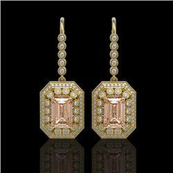 12.1 ctw Morganite & Diamond Victorian Earrings 14K Yellow Gold