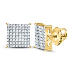 10kt Yellow Gold Round Diamond Cindys Dream Square Cluster Stud Earrings 1/6 Cttw