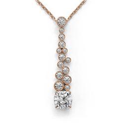 1.2 ctw Cushion Cut Diamond Designer Necklace 18K Rose Gold