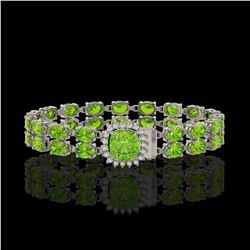 17.4 ctw Peridot & Diamond Bracelet 14K White Gold