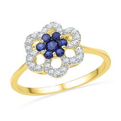 10kt Yellow Gold Round Lab-Created Blue Sapphire & Diamond Flower Cluster Ring 1/8 Cttw