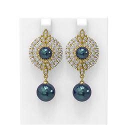 5 ctw Diamond and Pearl Earrings 18K Yellow Gold