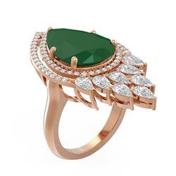 13.76 ctw Emerald & Diamond Ring 18K Rose Gold