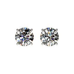 1.04 ctw Certified Quality Diamond Stud Earrings 10K White Gold