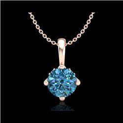 0.82 ctw Fancy Intense Blue Diamond Art Deco Necklace 18K Rose Gold