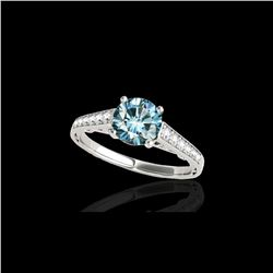 1.35 ctw SI Certified Fancy Blue Diamond Solitaire Ring 10K White Gold