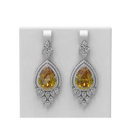 27.28 ctw Canary Citrine & Diamond Earrings 18K White Gold