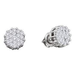 14kt White Gold Round Diamond Flower Cluster Screwback Earrings 1.00 Cttw