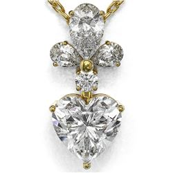 1.4 ctw Heart Diamond Designer Necklace 18K Yellow Gold