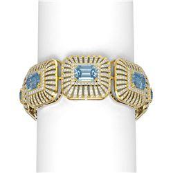 46.53 ctw Aquamarine & Diamond Bracelet 18K Yellow Gold