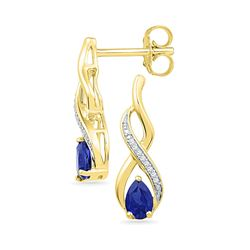 10kt Yellow Gold Pear Lab-Created Blue Sapphire Diamond Stud Earrings 1/20 Cttw