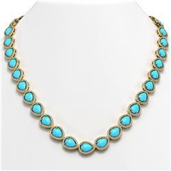 35.3 ctw Turquoise & Diamond Micro Pave Halo Necklace 10K Yellow Gold
