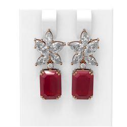 15.19 ctw Ruby & Diamond Earrings 18K Rose Gold