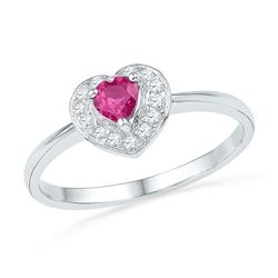 10kt White Gold Round Lab-Created Pink Sapphire Heart Ring 1/10 Cttw